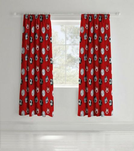 Catherine Lansfield Football Red Pencil Pleat Curtains